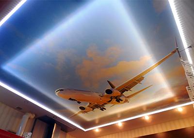 Натяжной потолок фотопечать с подсветкой